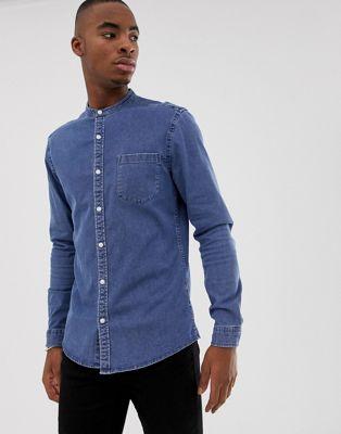 ASOS DESIGN stretch slim denim shirt in mid wash with grandad collar