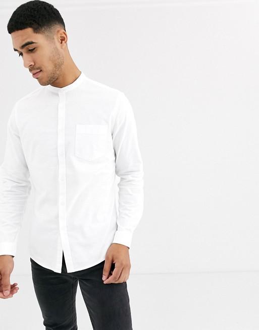 ASOS DESIGN stretch slim oxford shirt with grandad collar in white