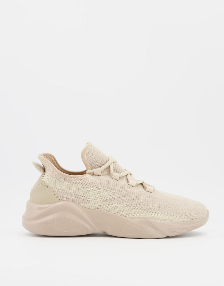 ASOS DESIGN - Strikkede løbesneakers med chunky sål-Neutral