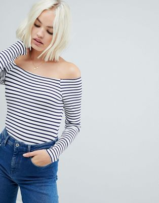 Image 1 of ASOS DESIGN stripe bardot long sleeve body in rib