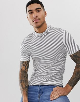 ASOS DESIGN stripe muscle t-shirt with turtleneck