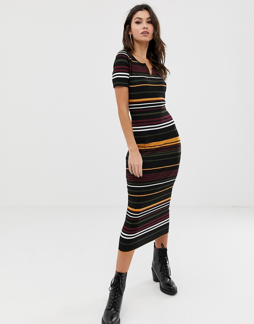 Asos Design Stripe Rib Midi Bodycon Dress With V Neck by Asos Design