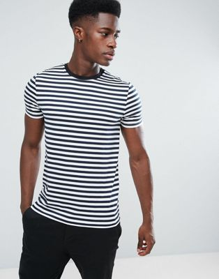 Image 1 of ASOS DESIGN stripe t-shirt in navy and white