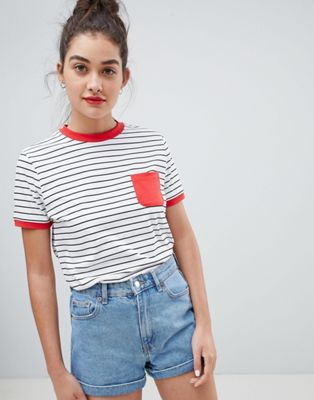 ASOS DESIGN stripe t-shirt with contrast pocket and contrast binding