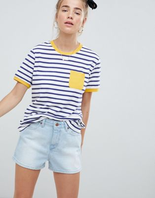 ASOS DESIGN stripe t-shirt with contrast pocket