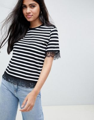 ASOS DESIGN stripe t-shirt with lace detail