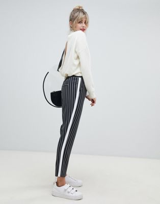 ASOS DESIGN stripe tapered trousers with contrast side panel