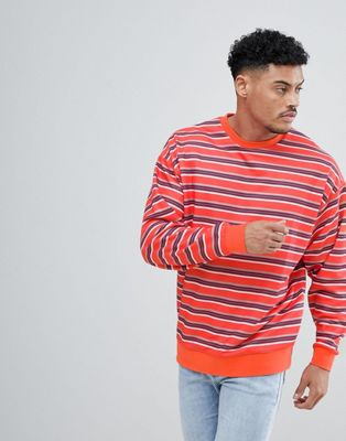 ASOS DESIGN Striped Oversized Sweatshirt In Red