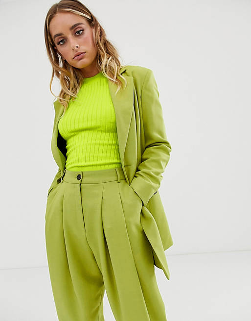 ASOS DESIGN strong shoulder suit blazer in citrus pop