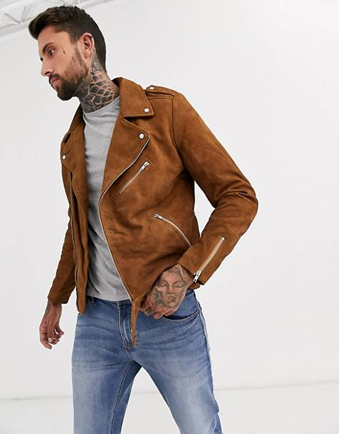 ASOS DESIGN suede biker jacket in tan