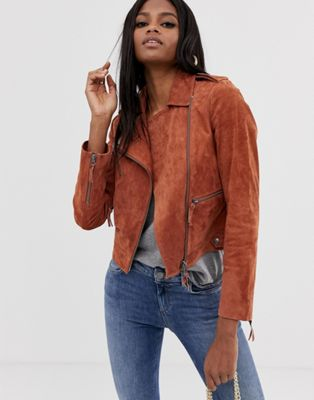 Image 1 of ASOS DESIGN suede biker jacket