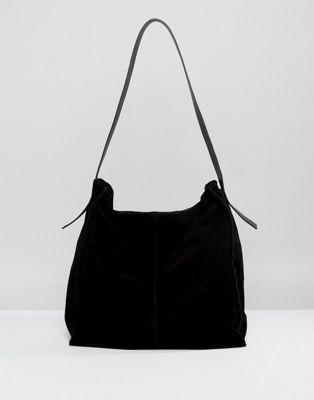 ASOS DESIGN Suede Contrast Shoulder Bag
