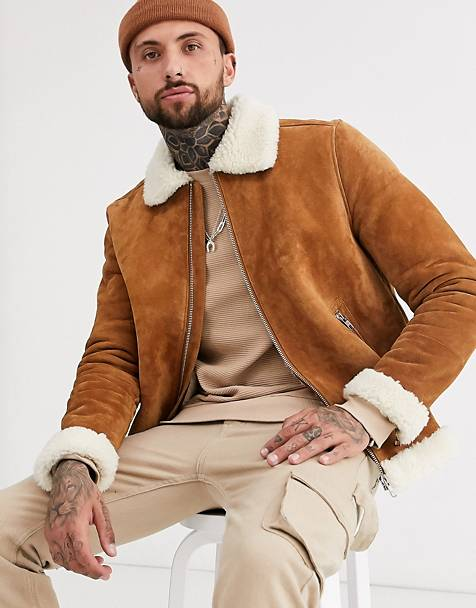 ASOS DESIGN suede flight jacket in brown with ecru teddy lining