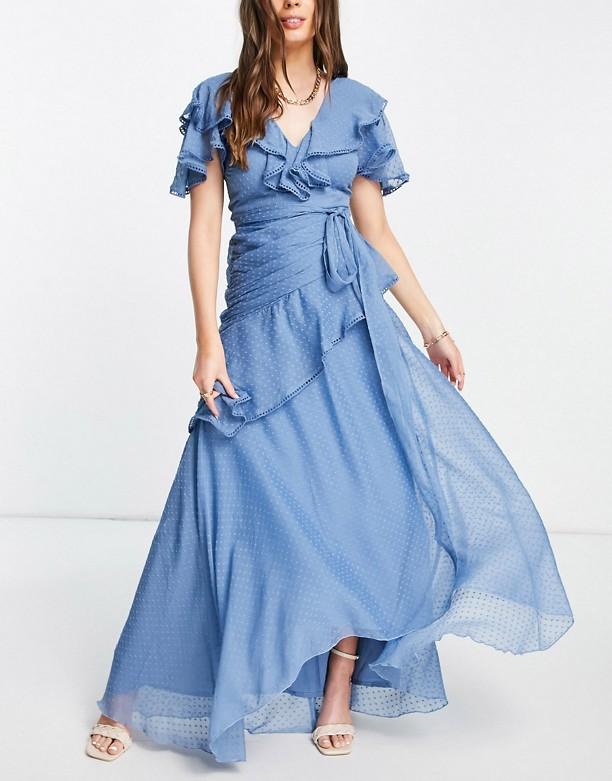 Na Sprzedaż ASOS DESIGN – Sukienka maxi z szyfonu dobby z drapowanym detalem i wiązaniem Niebieski