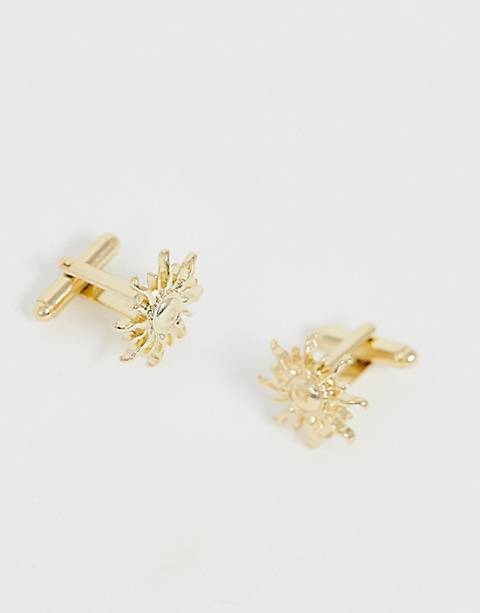 ASOS DESIGN sun cuff links in gold tone