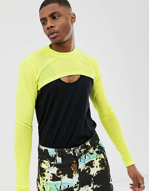 ASOS DESIGN super cropped muscle long sleeve t-shirt in fine mesh