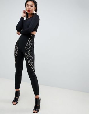 ASOS DESIGN Super High Waist Skinny Trousers with Embellishment