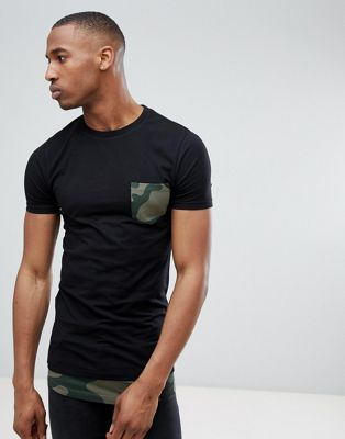 ASOS DESIGN super longline muscle t-shirt with camo curved hem extender & printed pocket