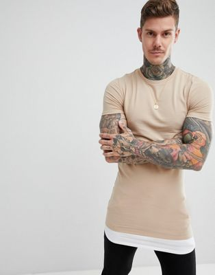 ASOS DESIGN super longline muscle t-shirt with contrast hem extender in beige