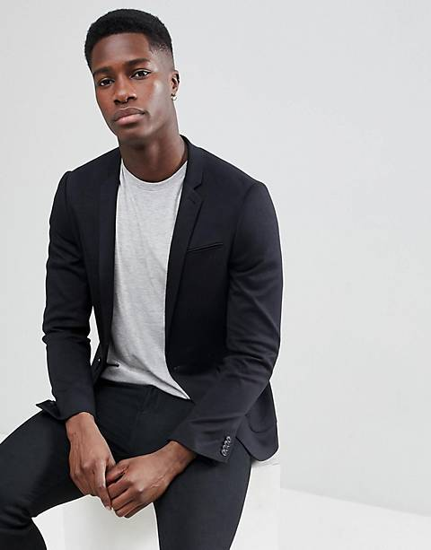 ASOS DESIGN super skinny blazer in black jersey