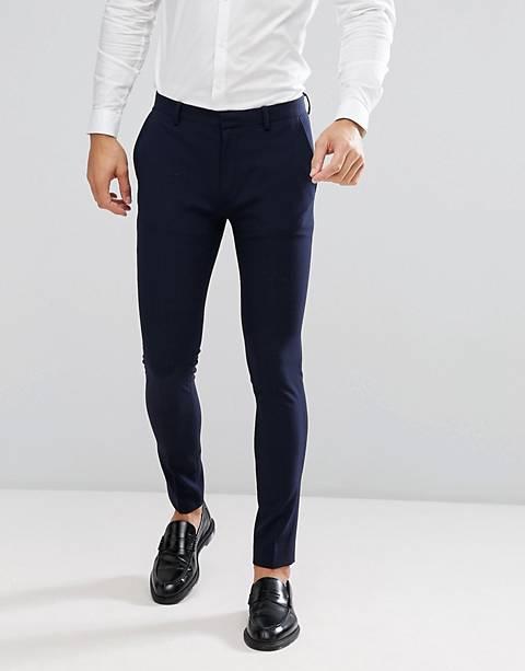 ASOS DESIGN super skinny fit marinblå kostymbyxor