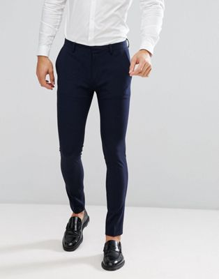 ASOS DESIGN super skinny fit suit trousers in navy
