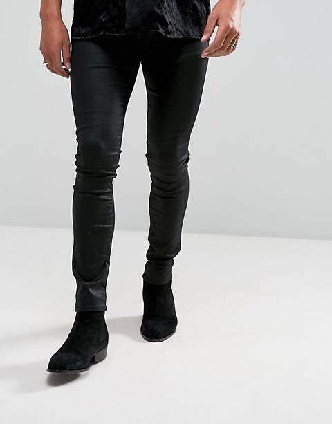 ASOS DESIGN super skinny jeans in coated black