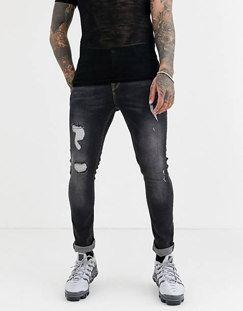 ASOS DESIGN super skinny jeans in vintage washed black with rips