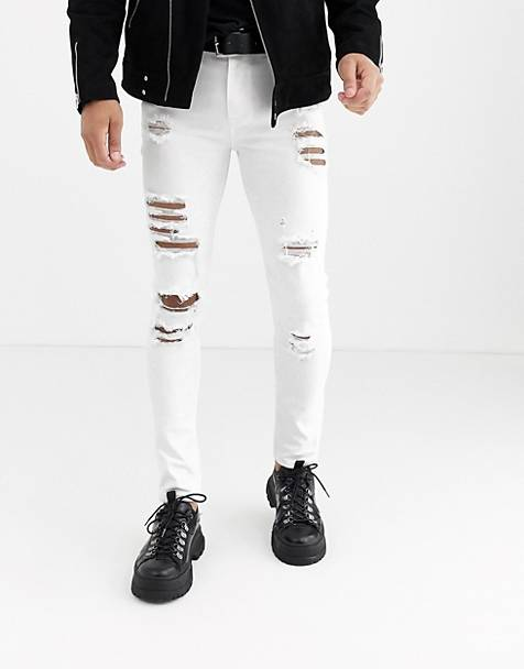ASOS DESIGN super skinny jeans with heavy rips in white
