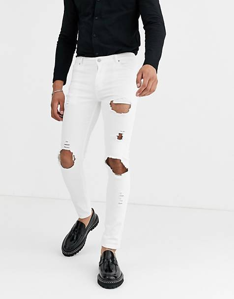 ASOS DESIGN super skinny jeans with open rips in white