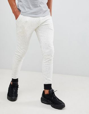 ASOS DESIGN super skinny joggers in white nep with contast cuff and waistband