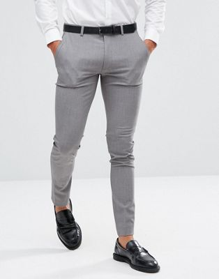 ASOS DESIGN super skinny smart trousers in grey