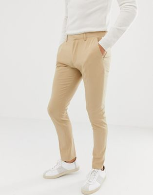 Image 1 of ASOS DESIGN super skinny smart trousers in stone