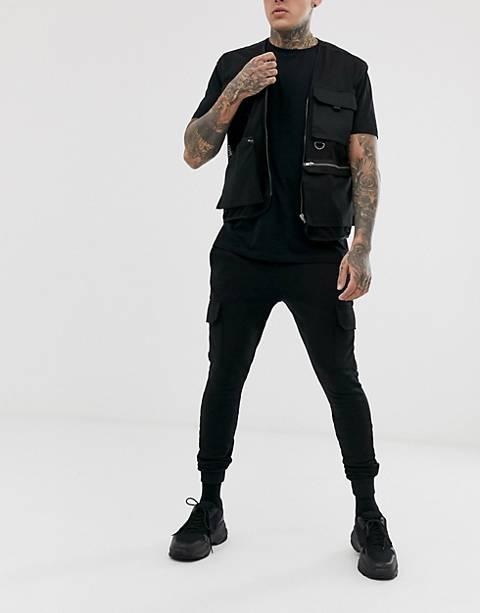 ASOS DESIGN super skinny sweatpants with cargo pockets in black