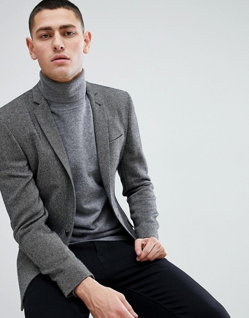 Image 1 of ASOS DESIGN super skinny texture blazer in dark grey wool mix