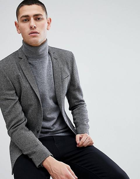 ASOS DESIGN super skinny texture blazer in dark grey wool mix