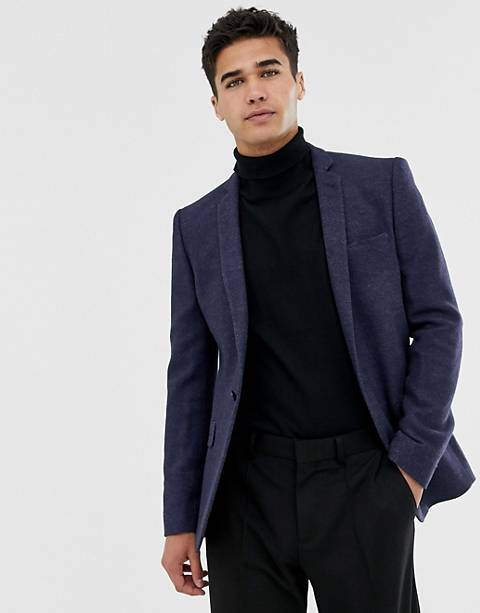 ASOS DESIGN super skinny texture blazer in navy wool mix
