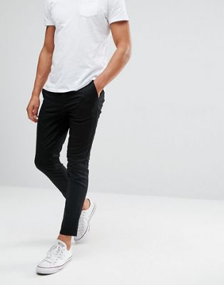 ASOS DESIGN - Superskinny cropped chino in zwart