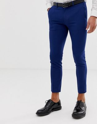 ASOS DESIGN - Superskinny cropped nette broek in marineblauw