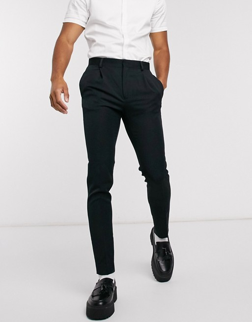 ASOS DESIGN - Superskinny smarte bukser i sort