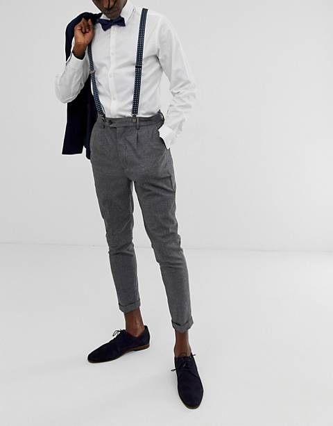 ASOS DESIGN suspender and bow tie set in navy with grid print