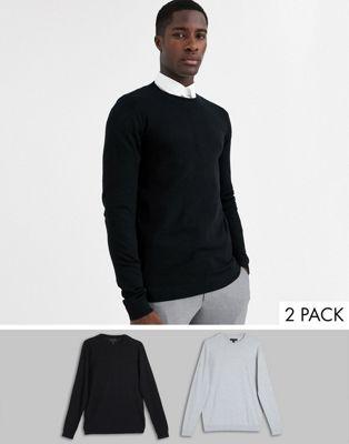 Bild 1 av ASOS DESIGN svart / ljusgrå tröja 2 paket spar