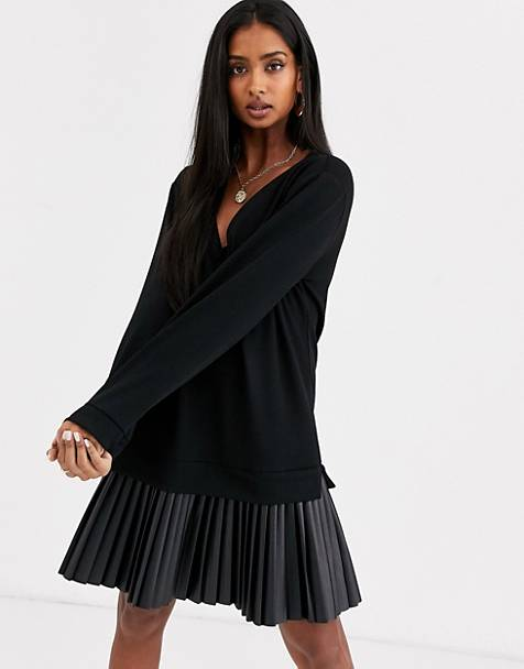 ASOS DESIGN sweat dress with leather look pleated hem