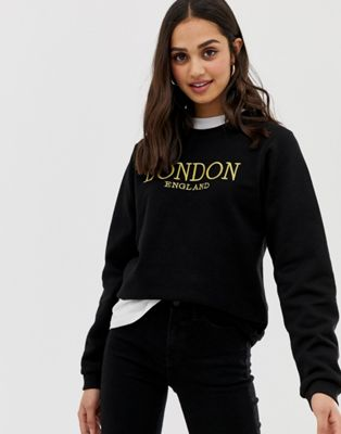 ASOS DESIGN sweat in boyfriend fit with gold london embroidery