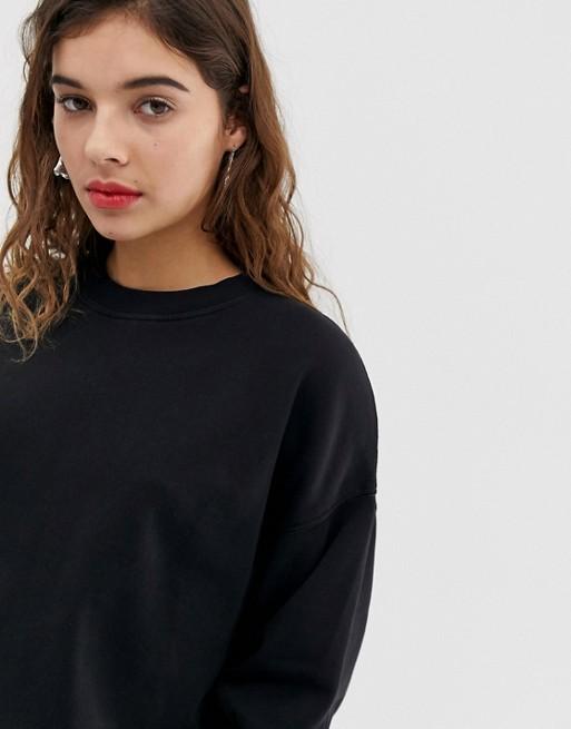À Délavé Larges shirt Noir DesignSweat Manches Ajqc4R3L5