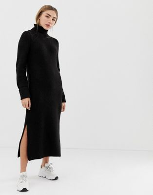 ASOS DESIGN sweater dress in midi length with side splits