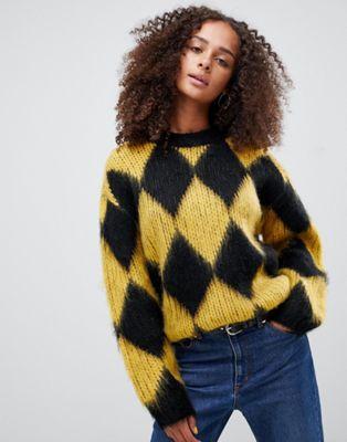 ASOS DESIGN sweater in diamond pattern