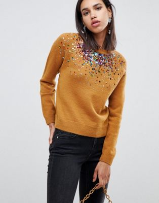 ASOS DESIGN sweater with scattered sequin detail