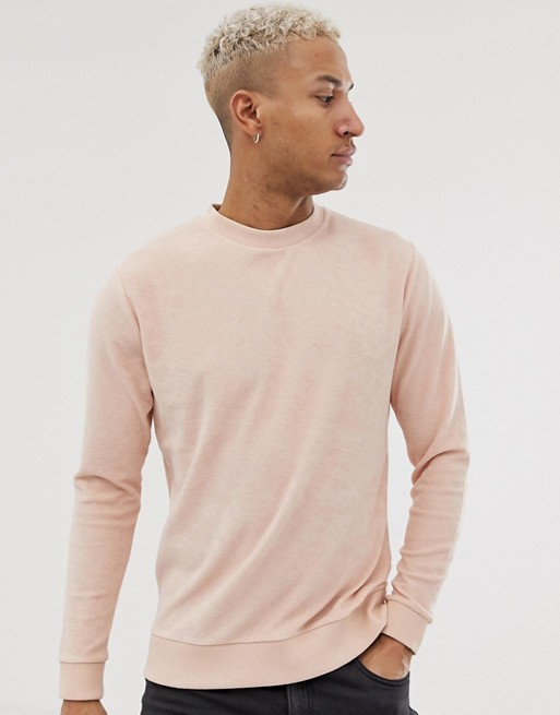 Image 1 of ASOS DESIGN sweatshirt in towelling in pink