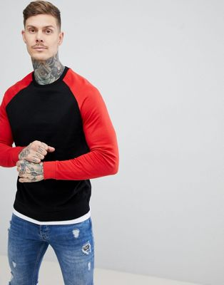 ASOS DESIGN sweatshirt with hem extender in black and red
